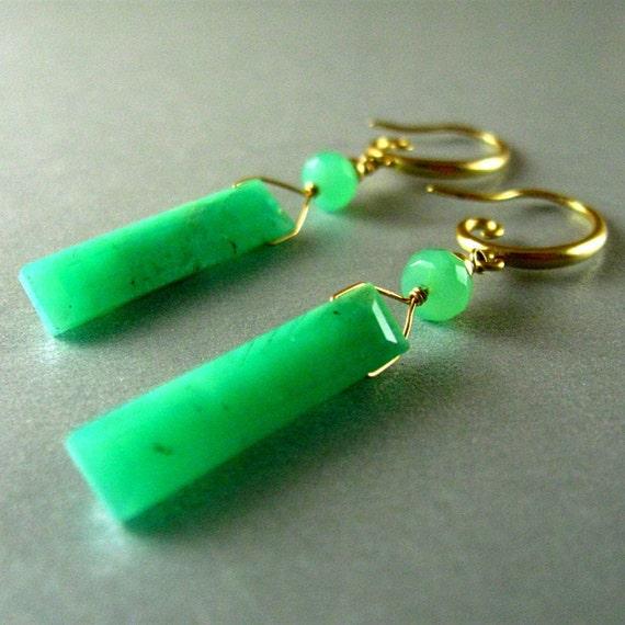 Chrysoprase Earrings, Green Gemstone, Green Baguette, Chrysoprase Wire Wrapped GF Earrings