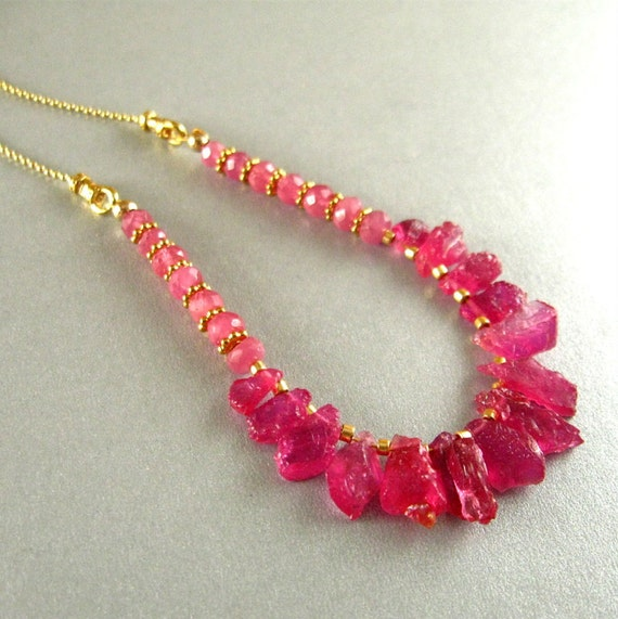 Pink Sapphire Nugget Necklace