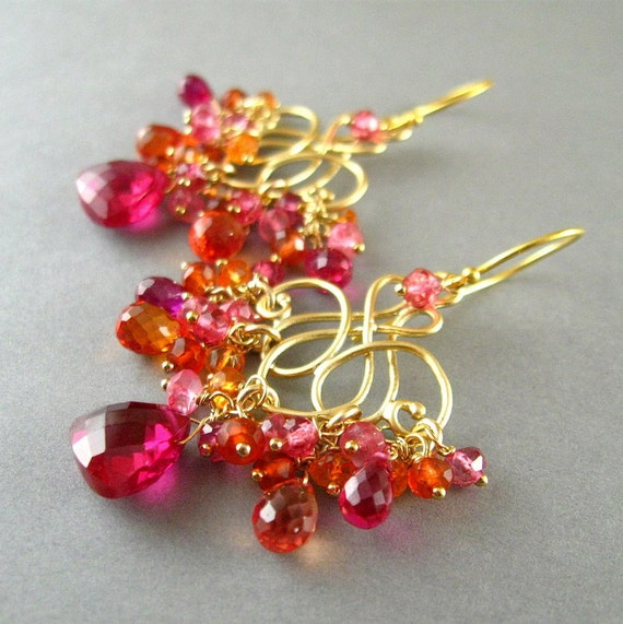 Neon Pink and Orange Chandelier Earrings, Quartz, and Topaz Gold Plated Earrings