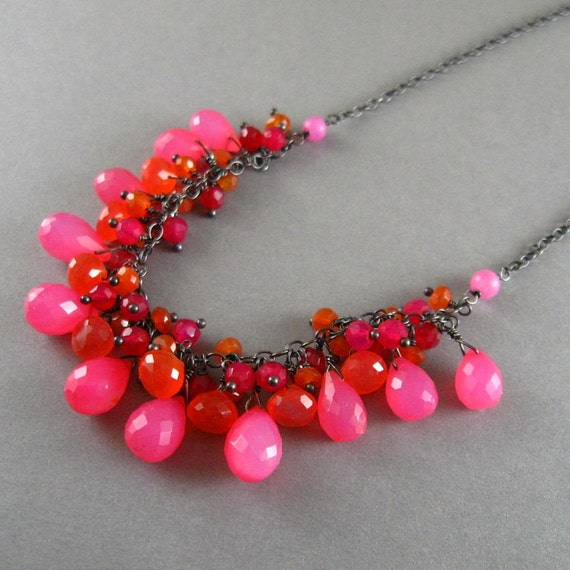 Chalcedony and Carnelian Oxidized Sterling Silver Cluster Necklace - Fruit Punch