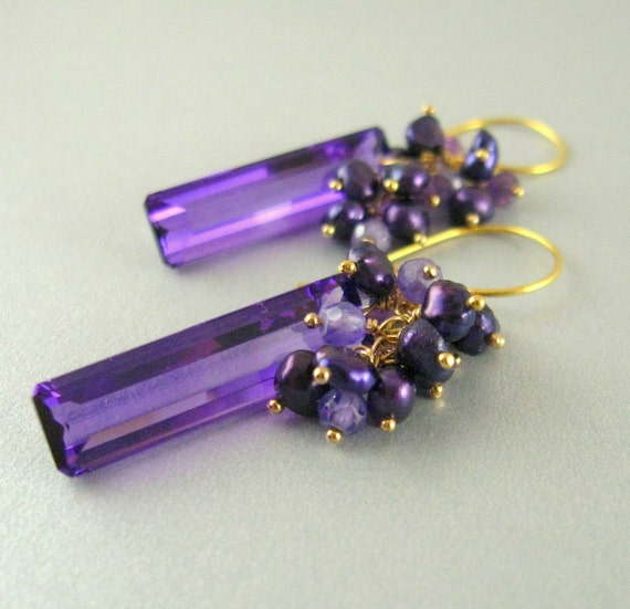 Amethyst And Pearl Cluster Gold Filled Earrings