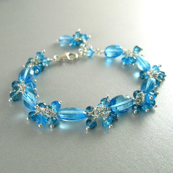 Swiss Blue and London Blue Topaz and Sterling Wire Wrapped Bracelet