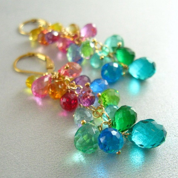 Colorful Quartz , Citrine and Topaz Gold Filled Cluster Earrings - Over The Rainbow
