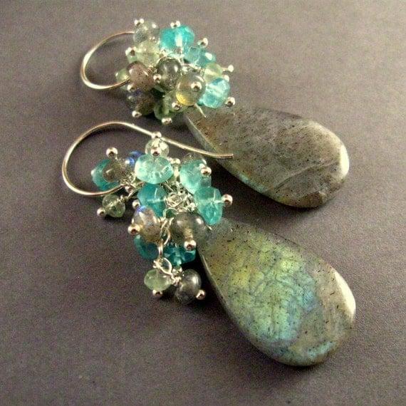 Labradorite and Apatite Gemstones Earrings