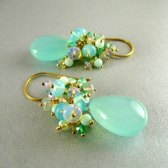Aqua Chalcedony, Ethiopian Opal Peruvian Opal And Onyx Earrings