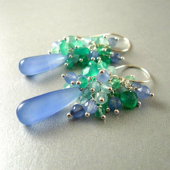 Pale Blue and Green Chalcedony Gemstone Earrings