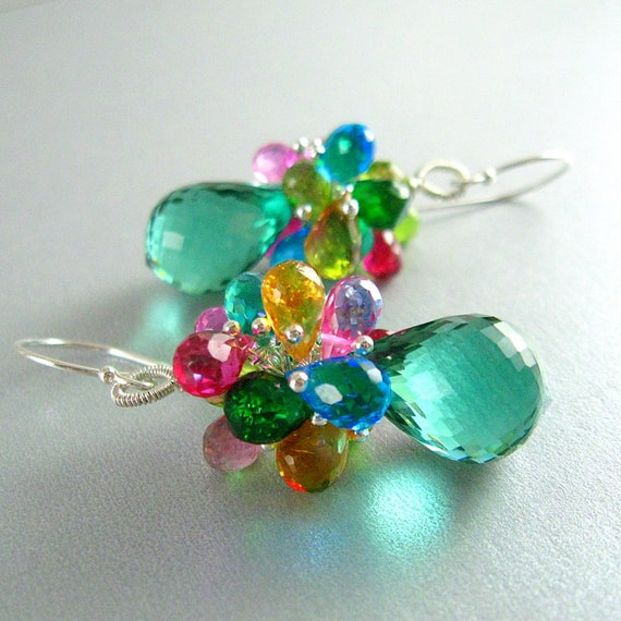 Green Amethyst and Colorful Gemstone Sterling Cluster Earrings