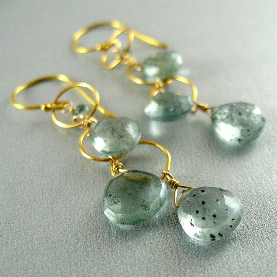 Moss Aquamarine and Gold Filled Wire Wrapped Sterling Earrings