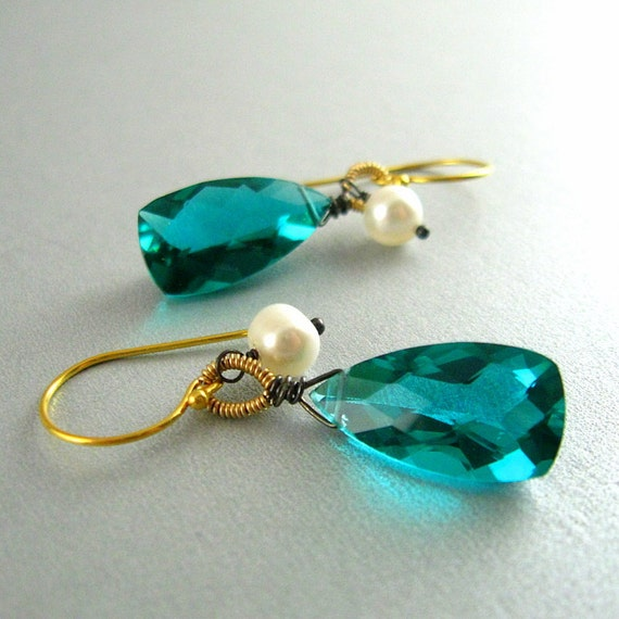 teal gemstone wire wrapped earrings by surfandsand on etsy