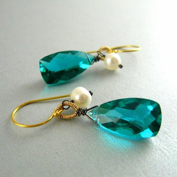 Teal Gemstone Wire Wrapped Earrings.