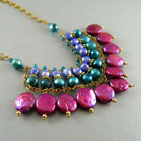 Colorful Pearl Bib Necklace - American Cancer Society Donation