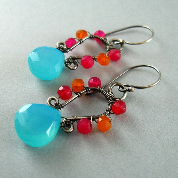 Turquoise Blue Chalcedony Earrings - Tropical Breezes