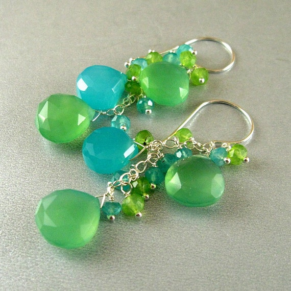 Aqua Blue and Sea Green Chalcedony Wire Wrapped Sterling Silver Earrings