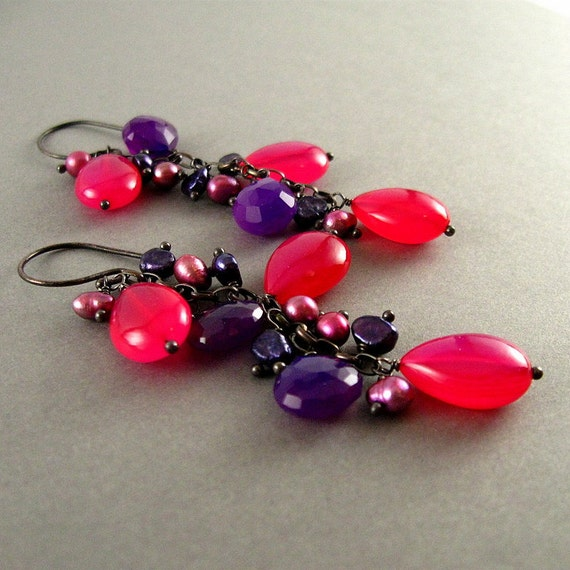 1/2 Off - Colorful Chalcedony Wire Wrapped Oxidized Silver Earrings