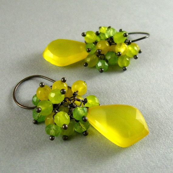 Yellow Gemstone Earrings - Yellow and Green Ghalcedony Cluster Earrings