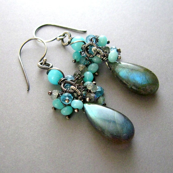Labradorite, Amazonite and Apatite Sterling Wire Wrapped Earrings