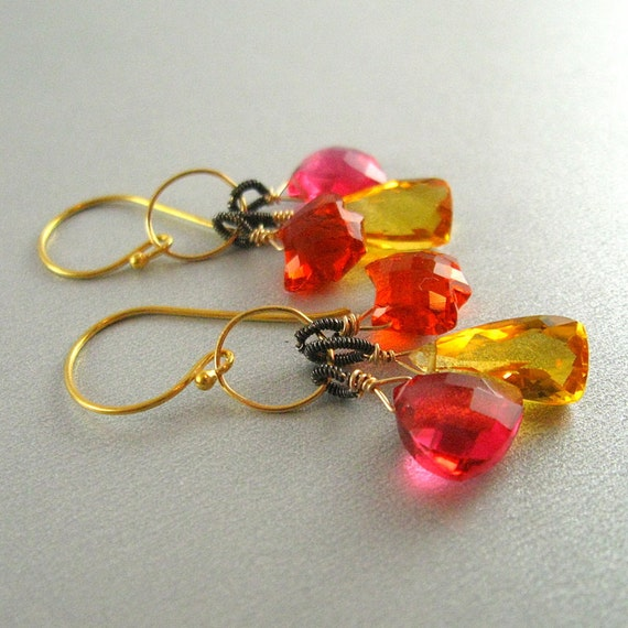 Neon Quartz Wire Wrapped Earrings