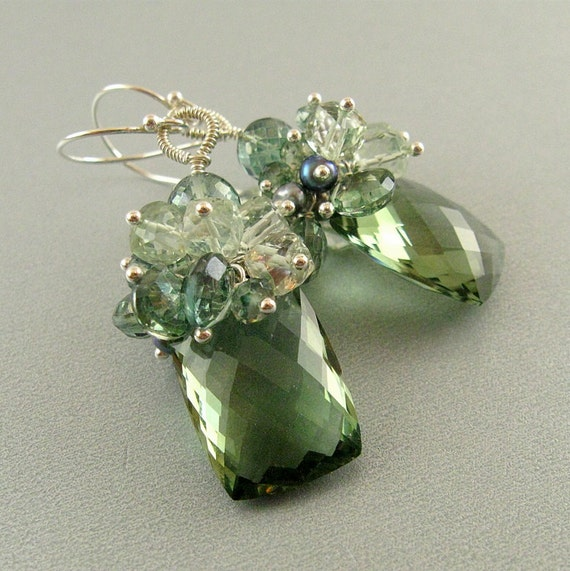 Green Amethyst, Quartz and Pearl Sterling Silver Earrings