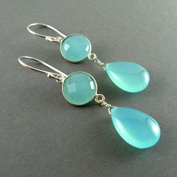 Sale- Aqua Chalcedony Sterling Silver Drop Earrings