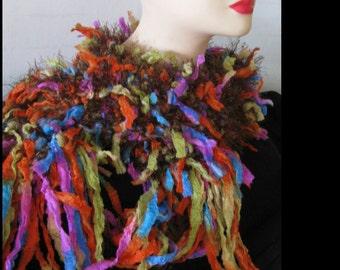 Knitted Rag Scarf -Brown/Orange