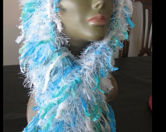 Knitted Rag Scarf - Turquoise/white