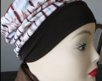 Slouchy Hat -  Brown Tie-Dye - Lined