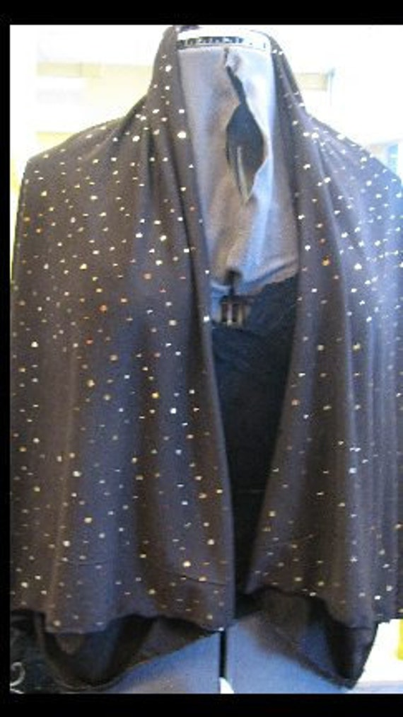 Kimono Sleeve Wrap - Shrawl That Wont Fall of your Shoulder. Brown  with Gold Sequins