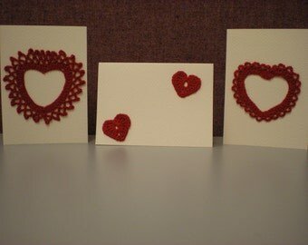 Valentine Cards with Hand Crocheted Hearts