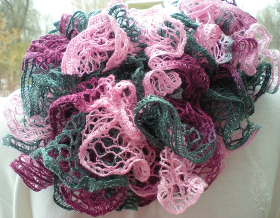 Pink and Gray Knit Ruffle Scarf