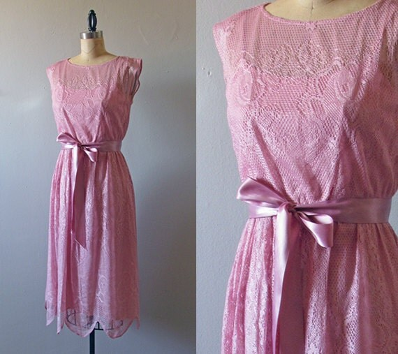 1970s pink lace dress - cute garden wedding party dress extra small