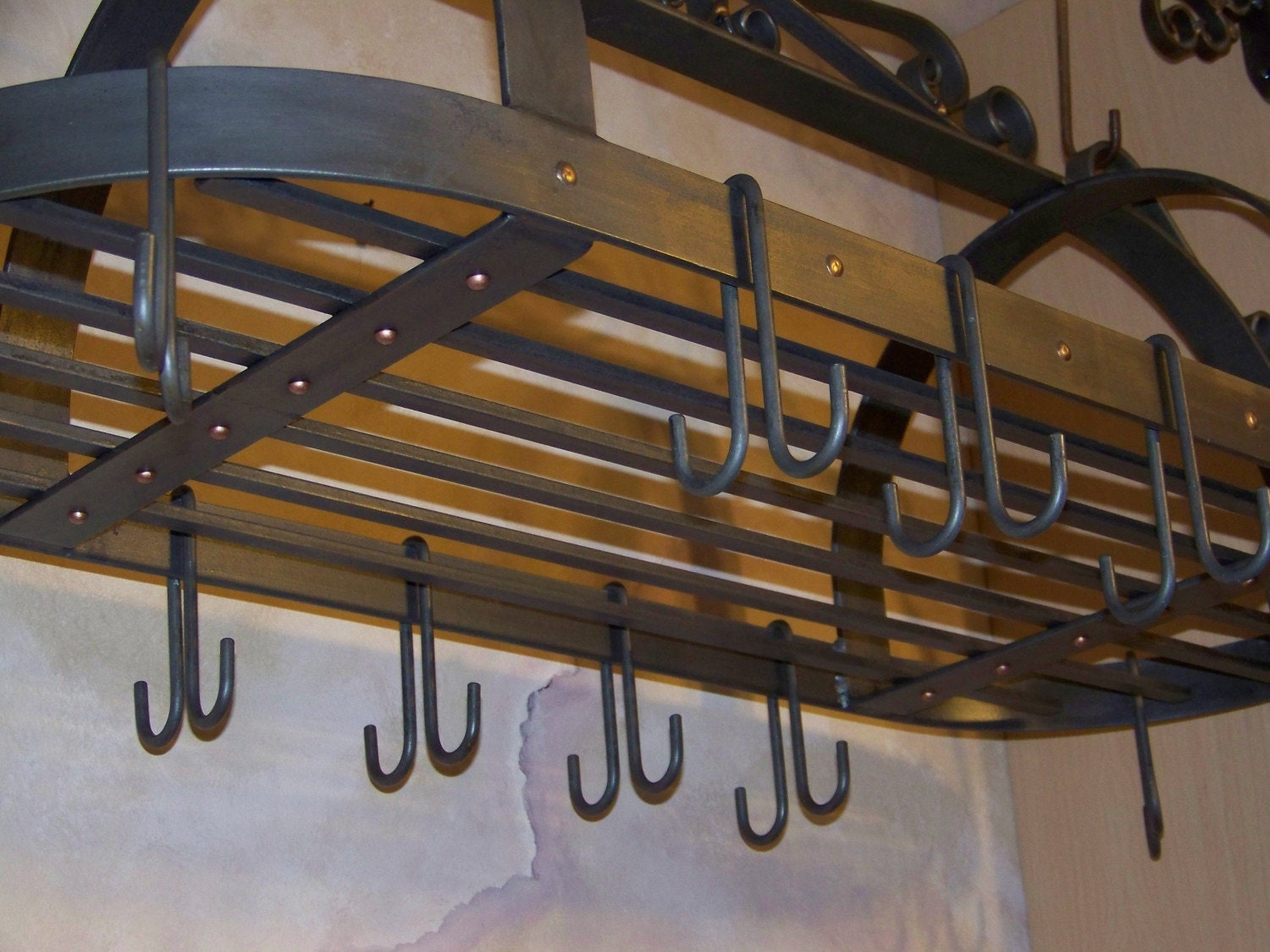 wrought iron pot rack special order for barb by craftbender