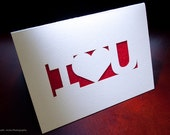 Greeting Cards - I Love You/Valentines Day - Custom Lasercut Designs