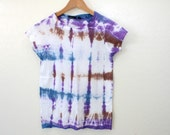 Tie Dyed Tee - Purple Stripe Top - Ladies Tie DyeTshirt - Size Small