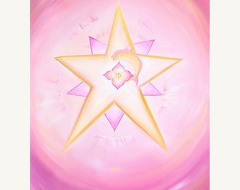 Magic Dolphin Star - The magic and love of the dolphins, beautiful - fine art (giclee) print of my original painting