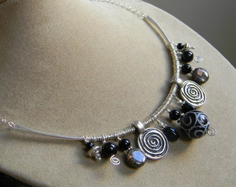 Silver Rum Jungle - Multi-Bead Sterling and Black Necklace