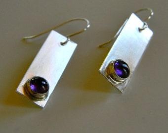 Modern Amethyst and Sterling Silver Earrings