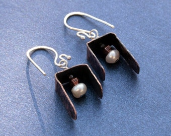 Asymmetrical Sterling and Copper Pearl Earrings