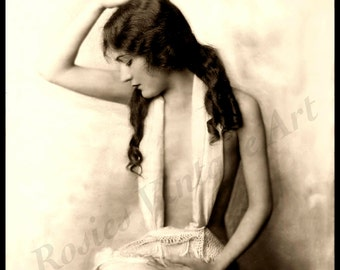 Girl with Long Brown Hair Vintage Photo - Giclee Art Print