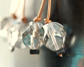 Statement Crystal Earrings - Faceted Light Grey Crystal and Golden Leather - It's So Clear Now Earrings