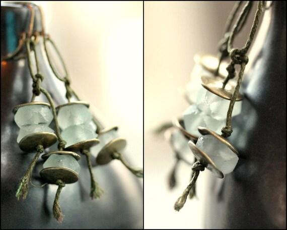Tribal Earthy Earrings - White Recycled Glass Brass Disc and Fiber - Summer Glacier Earrings