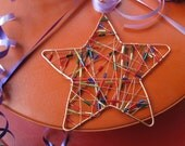 Ornament, star beaded copper wire
