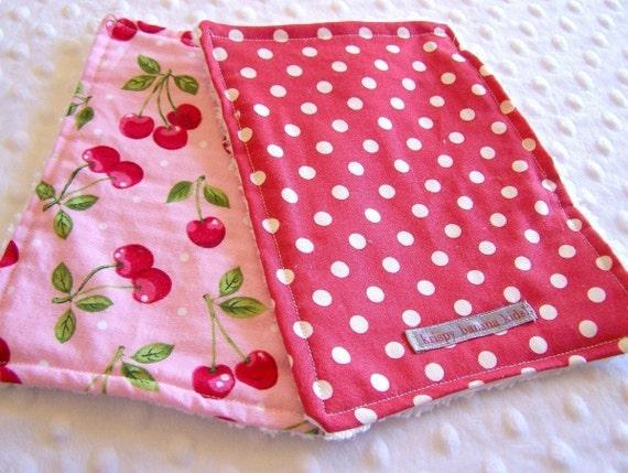 Cherries Jubilee and Polka Dots Mini Burpcloth or Washcloth Set