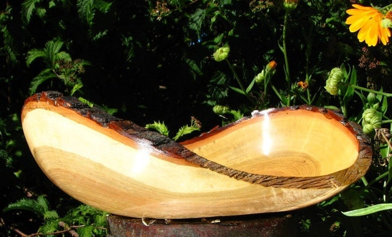 Curly natural bark edge silver maple bowl