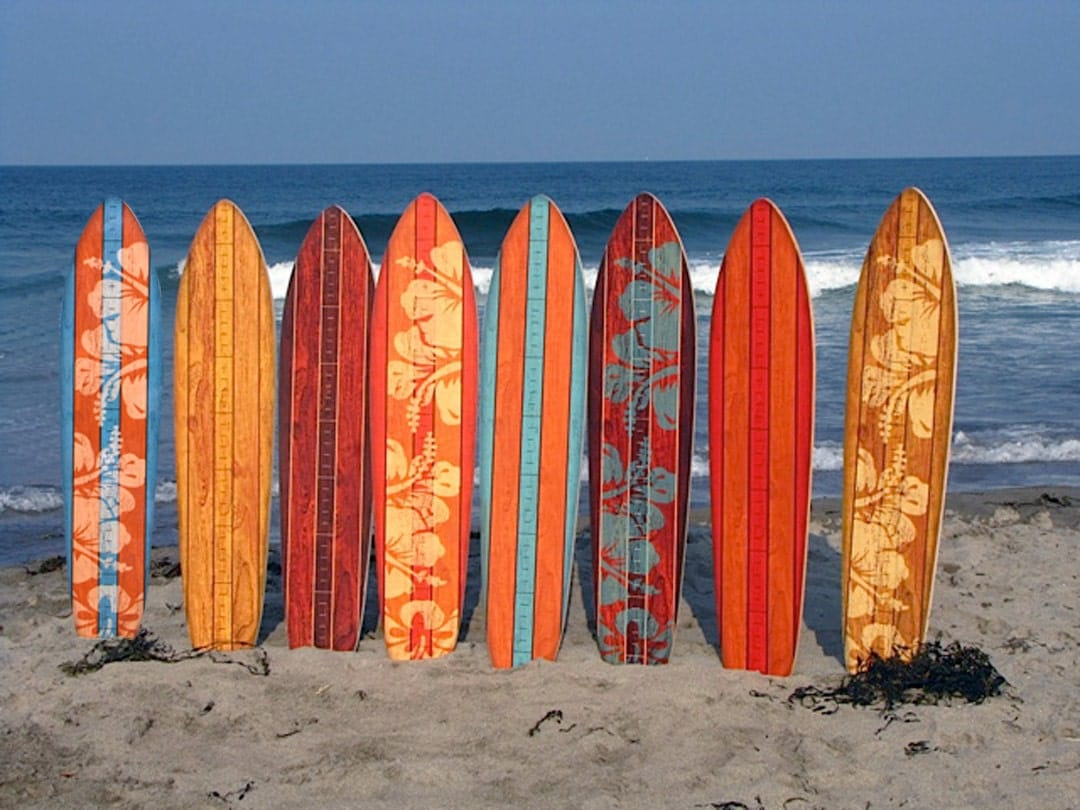Vintage Surfboard Wooden Growth Charts Kids By