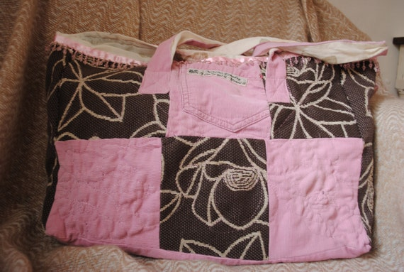 SALE - fabric tote bag in pink and chocolate