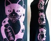 Black Lucky Kitties Tshirt Dress/Tunic