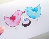 Lovebirds Family New Baby Congratulations Card