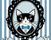 Fancy Cat Bookplates - set of 12