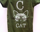 Olive C is for Cat Short Sleeve Onesie