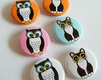 Owl and Pussycat Button Set